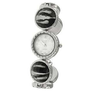 Geneva Platinum Womens Animal Print Toggle Watch