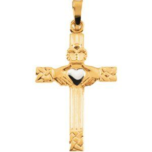 14K Yellow / White Gold Claddagh Cross Pendant Jewelry