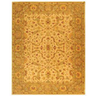 Handmade Antiquities Treasure Ivory/ Brown Wool Rug (96 x 136