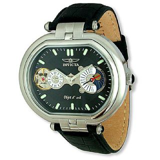 Invicta Capsule Moonphase Black Leather Strap Watch