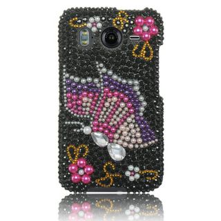 Luxmo Rainbow Butterfly Rhinestone Protector Case for HTC Inspire 4G