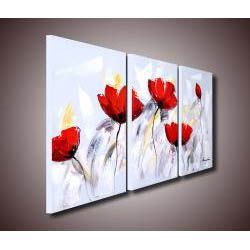 Red Flower 281 3 piece Gallery wrapped Canvas Art Set