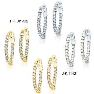 14k Gold 3ct TDW Diamond Hoop Earrings (H I/J K, SI1 SI2/I1 I2