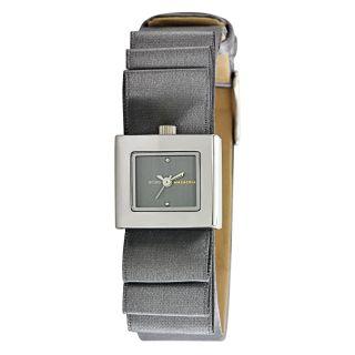 BCBG Max Azria Womens Mini Plisse Satin Bow Grey Dial Watch