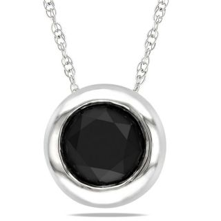 Miadora 10k White Gold 1ct TDW Black Diamond Fashion Necklace