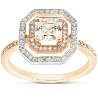 14k Two tone Gold 1 1/3ct TDW Diamond Engagement Ring (K, VS1 VS2