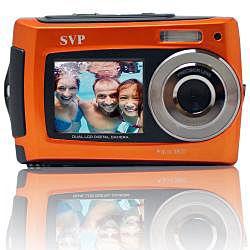 Aqua 5800 18MP Dual Screen Waterproof Orange Digital Camera with Micro