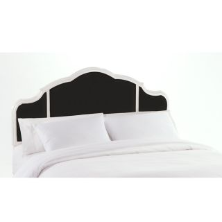 Murdoch Black Velvet White Finish Queen size Headboard