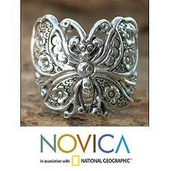Sterling Silver Spring Butterfly Cocktail Ring (Thailand