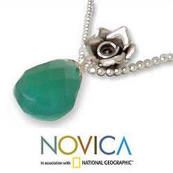 Sterling Silver Green Rose Lover Chalcedony Necklace (Thailand