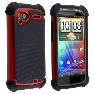 Black/ Red Hybrid Armor Case for HTC Sensation 4G