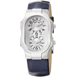 Philip Stein Womens Signature Blue Patent Leather Strap Watch MSRP