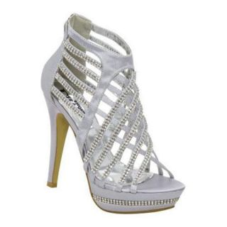 Womens Lava Shoes Madison Silver Satin