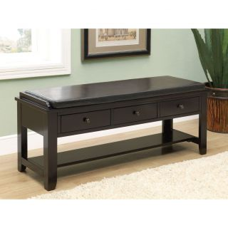 Cappuccino 3 Drawer Solid Wood Bench