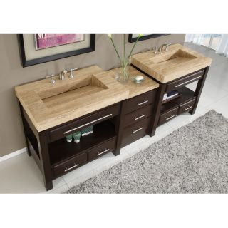 Silkroad Exclusive Travertine Countertop Double Stone Sink Bathroom