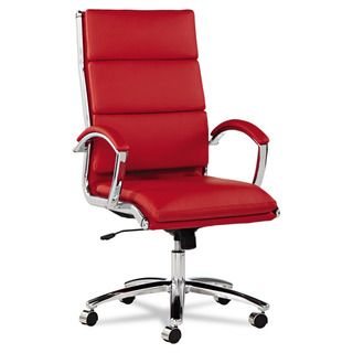 Alera Neratoli Red Soft touch Leather Chrome Frame High back Swivel