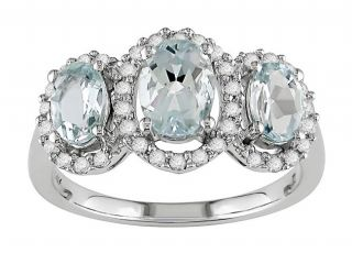 14k White Gold Oval Aquamarine Ring
