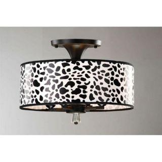 Indoor 4 light Leopard Grain Antique Bronze Flushmount Chandelier