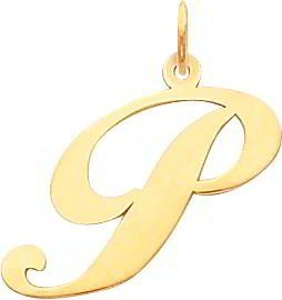 Fancy Cursive Letter P Charm 14K Gold: Jewelry: