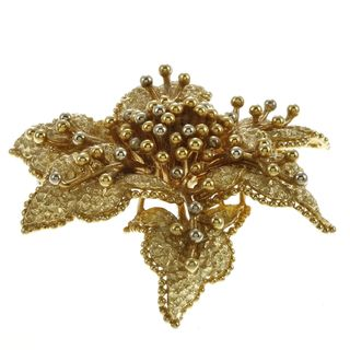 18k Yellow Gold Tiffany & Co. Flower Estate Brooch