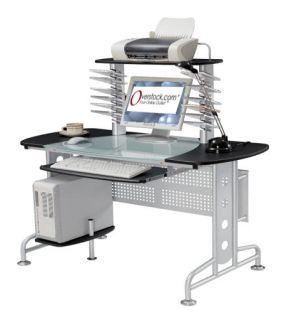 Ergonomic Half Glass top Multi level Computer Desk