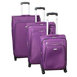 Dejuno Alliance Purple 3 piece Expandable Spinner Luggage Set MSRP $