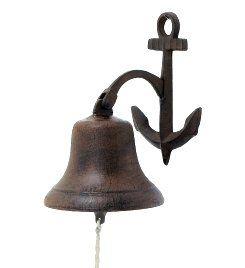 Cast Iron Hanging Nautical Anchor Bell ~ Dinner Bell Home
