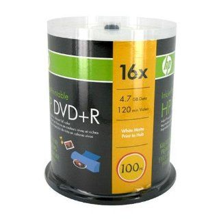 HP 100 Pack 16X DVD+R White Inkjet Printable Electronics
