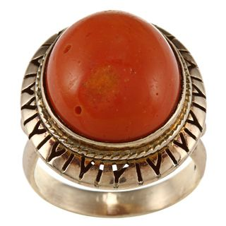 14k Yellow Gold Coral Estate Ring