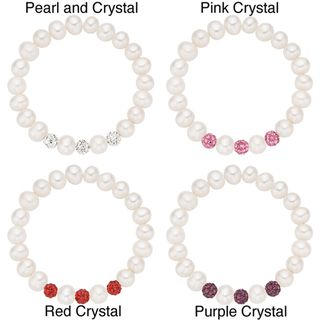 Pearlyta Childrens Pearl and Crystal Bracelet