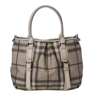 Burberry Medium Smoked Check Canvas/ Leather Tote Bag