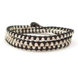 Triple Wrap Mini Silver Beads Black Cotton Rope Bracelet (Thailand