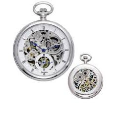 Avalon 17 jewel Mechanical Skeleton Stainless Steel Pocket Watch with