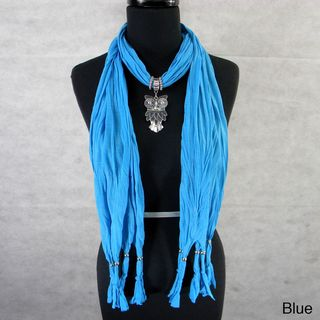 Fashion Jewelry Scarf with Silvertone Owl Pendant