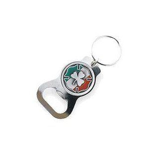 Pewter Maltese Cross Irish Shamrock Bottle Opener Keychain