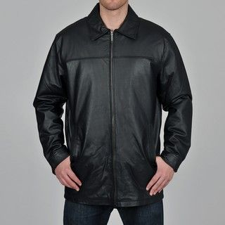 Knoles & Carter Mens Black Long Chest Zip Open Bottom Leather Jacket