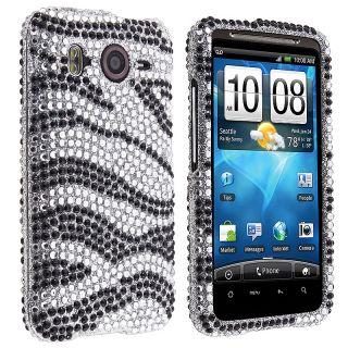 Silver/ Black Zebra Diamond Snap on Case for HTC Inspire 4G/ Desire HD