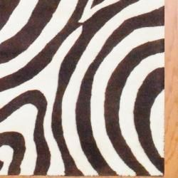 Indo Hand tufted Zebra print Brown/ Ivory Wool Rug (4 x 6