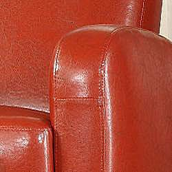 Noah Faux Leather Red Club Chair and Ottoman