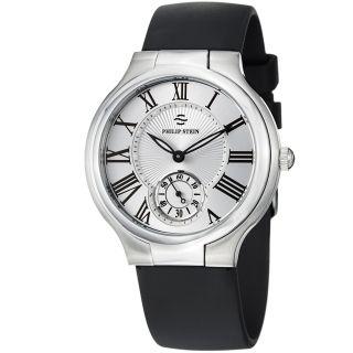 Philip Stein Womens Novelties Silver Dial Black Rubber Strap Watch