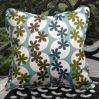 Kate Outdoor Daisy Pool Blue Throw Pillows (Set of 2)