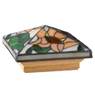 Deckorators 76229 Tiffany Style Sunflower Post Cap with Cedar Base