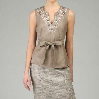 Lafayette 148 Womens Embellished Linen V neck Top