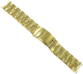 22mm Speidel Yellow Gold Tone Mens Metal Curved End Foldover Clasp