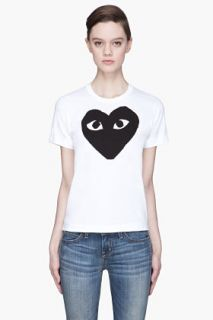 Comme Des Garçons Play  White Black Heart Emblem T shirt for women