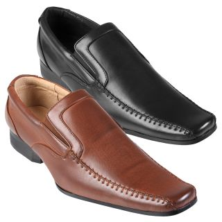 Boston Traveler Mens Stitching Detail Square Toe Slip on Loafers