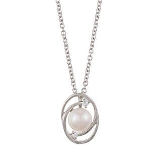 Sterling Silver White Pearl and Cubic Zirconia Spiral Necklace (7 8mm
