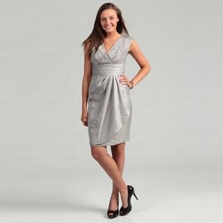 London Times Womens Steel Grey Pleated Dress