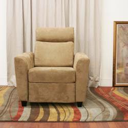 Holcomb Tan Microfiber Modern Recliner Chair