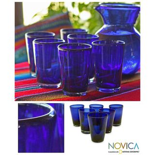 Set of 6 Hand blown Glass Cobalt Angles Drinking Glasses (Mexico